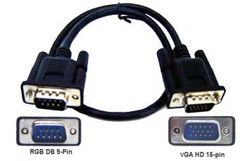 CGA DB9-Pin to 15-Pin D-sub VGA Adapter Cable