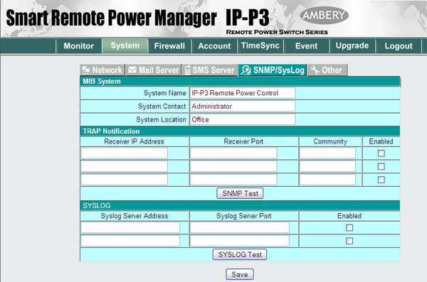Web control panel screenshot of the remote power switch IP-P3 model