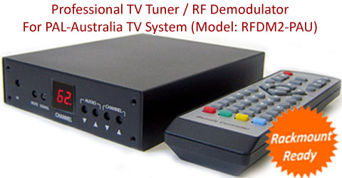 Professional RF Coax To Composite Video Audio Demodulator TV Tuner W/IR Remote Control