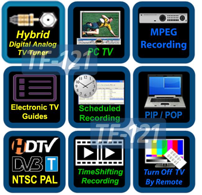 Hybrid Digital ATSC DVB-T + Analog NTSC PAL TV Tuner Card With DVR Recording